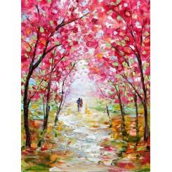 تابلو نقاشی رنگ روغن منظره بهاری