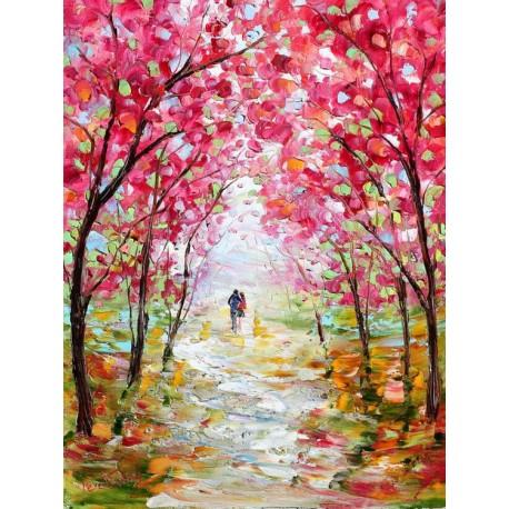 تابلو نقاشی رنگ روغن منظره ی بهاری