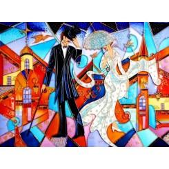 فروش تابلو نقاشی روی شیشه ویترای عروس داماد