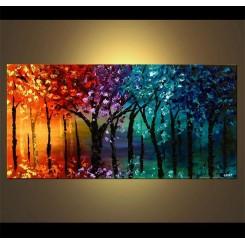 فروش تابلو نقاشی رنگ روغن جنگل رنگارنگ