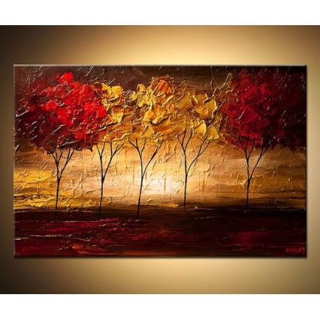 تابلو نقاشی رنگ روغن درختان پاییزی