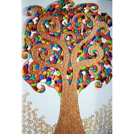 تابلو نقاشی روی شیشه (ویترای) درخت فانتزی