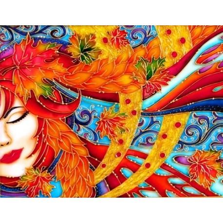 فروش تابلو نقاشی ویترای (روی شیشه) دختر پاییز
